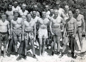 Mercury 7 astronauts. Aquatic training with Churchills and UDTs.