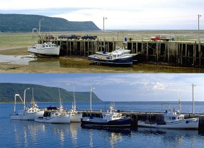 Bay of Fundy, Nova Scotia. Largest  tidal range on Earth.