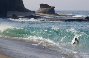 Coarse sand=steep beach=shorebreak womp