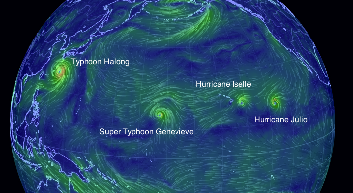 Aug. 7th- Four Hurricanes in the North Pacific  Photo: Global Wind Map