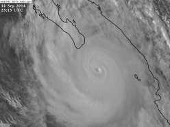 Hurricane Odile approaching Baja. Photo NASA