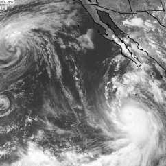 Lowell and Karina to the left, Marie intensifying to the right. Image: NASA