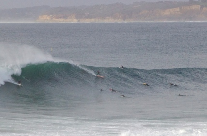 Large, intense swell generated by close proximity storm.