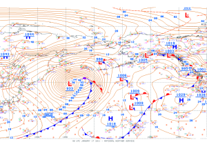 Strong low pressure with surrounding areas of high pressure over the North Pacific. Image: NWS