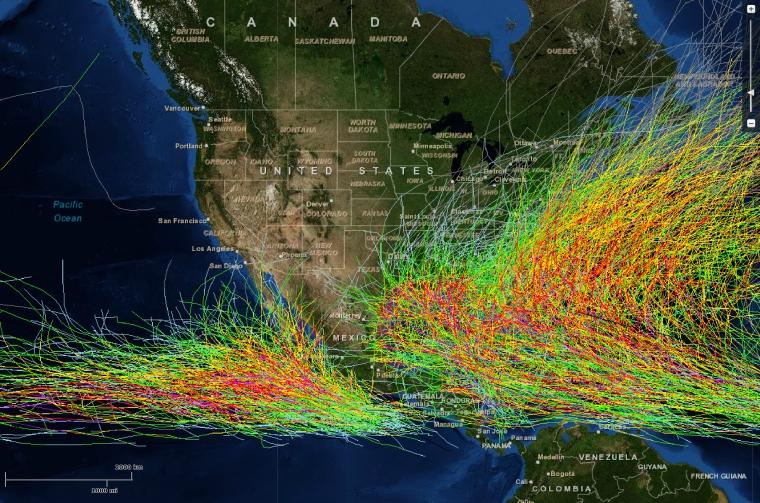 North America hurricane tracks from 1958-2011.  Image: NOAA