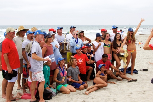 The Del Mar Bodysurfing Club. They swim and have a social gathering every single Saturday and Sunday at 17th Street in Del Mar. All are welcome. Their leader, Vince Askey, outdid himself this year with the recruitment of team riders. He snagged as many free agents as he could find and hosted bodysurfers from Australia, Brazil, France and New Zealand.