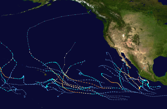 2015 Pacific hurricane storm tracks.