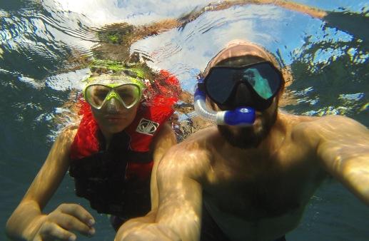 My student, Santiago and I snorkeling Taveuni.
