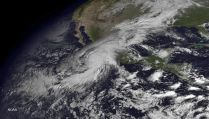 Hurricane Patricia impacting the Mexican coast.