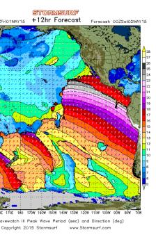 25 second periods approaching California in early May, 2015. Image: StormSurf