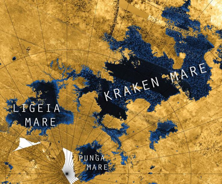 The north polar region of Titan with Mare full of liquid methane. Credit: NASA