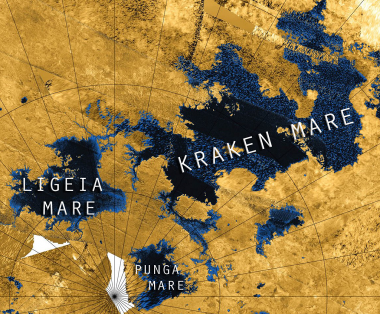 The north polar region of Titan with Mare full of liquid methane. Credit: NASA