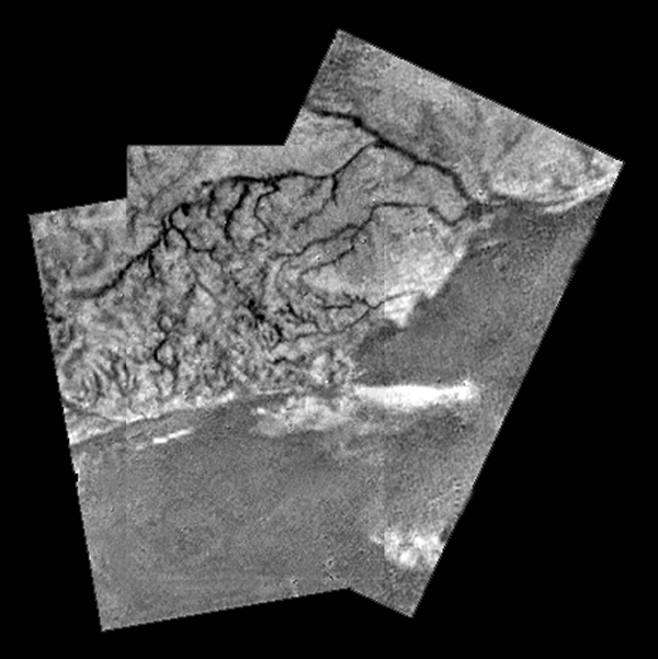 Coastlines on Titan. Are those waves? Credit: NASA
