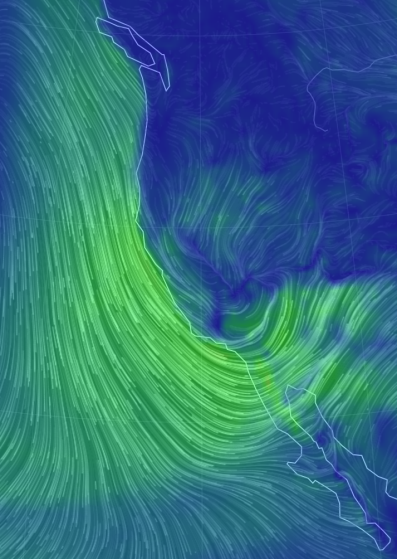 Wind- January 30, 2016. Image: Nullschool