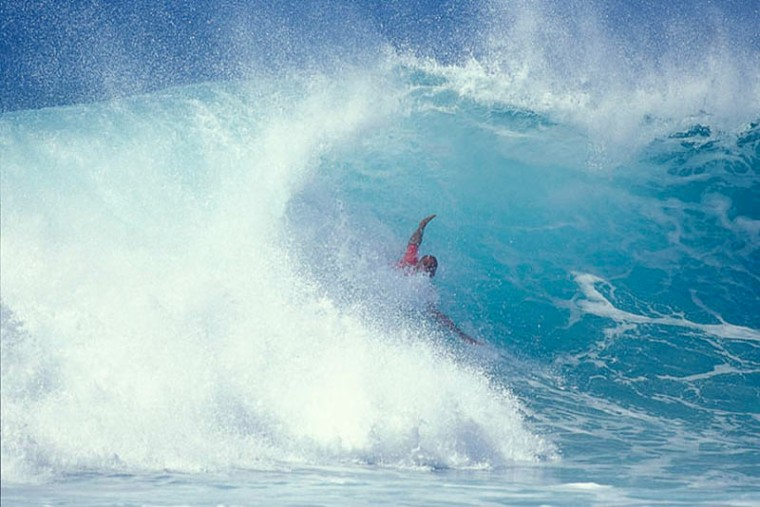 Kelly Slater during a Pipeline bodysurf competition.