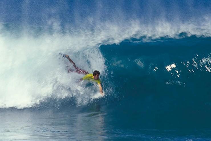 Rob Machado in a Pipeline bodysurf contest.