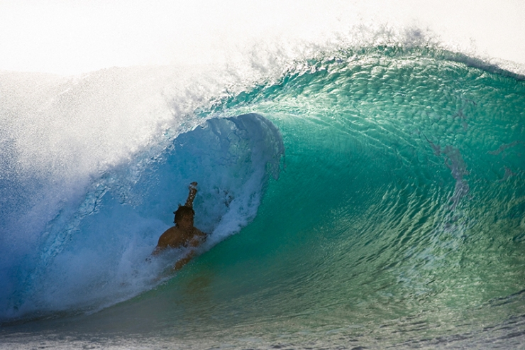 Tom Curren bodysurfing at Off The Wall.