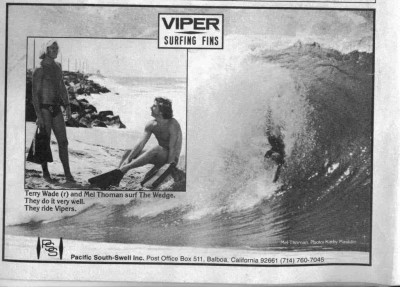 Terry Wade and Mel Thoman Viper Surfing Fins