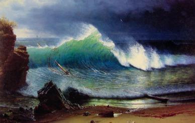 """""""The Shore of the Turquoise Sea""""- Albert Bierstadt 1878"""
