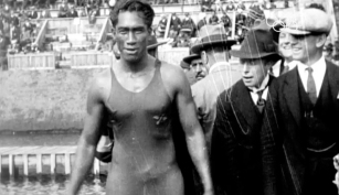 Duke Kahanamoku at the 1920 Olympics in Antwerp, Belgium. Photo: IOC