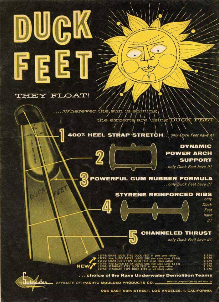 Early Duck Feet Advertisement detailing the advantages of rails