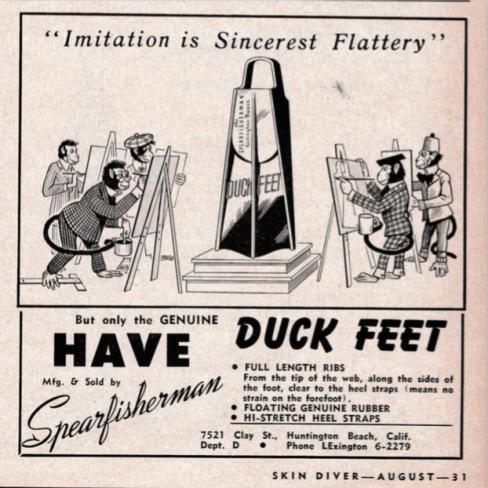 "1956 The last ""Spearfisherman"" Duck Feet Advertisement"