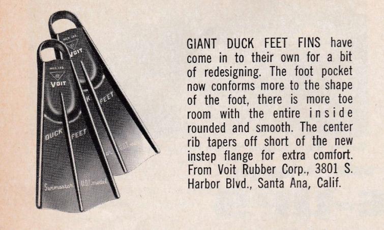 Updated Duck Feet Advertisement in Skin Diver Magazine 1965