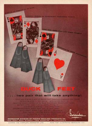 Duck Feet Fin Advertisement with Playing Cards
